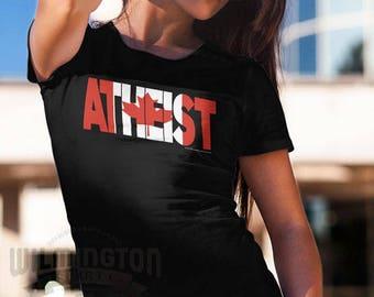 Atheist shirts, Canadian Atheist, funny tshirts, Canadian flag, sarcastic t-shirts, atheist gifts, gifts for atheists, Canadian gifts