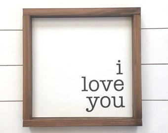 I love you wood sign // Rustic Home Decor // Farmhouse Decor // Wedding // Gifts for her // Nursery Decor