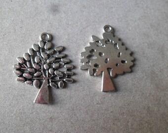 x 3 filigree tree charms silver 30 x 23 mm