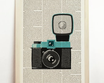Diana F+ Print Retro Poster Modern Art Turquoise Black Camera Vintage Wall Hanging Decor Photography Upcycled Book Dictionary Wall Hanging