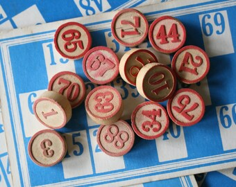 10 Wooden Red Lotto Numbers Bingo Game Numerical Markers Rustic Industrial Decor Art Craft Numeral Interior Design Vignette SET 10