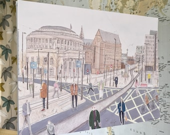 A3 Size Manchester St Peter's Square Illustration Print - 2017 - hand-signed - 29.7cm x 42.0cm