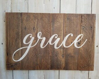 Grace, Large Pallet Sign, Living, Dining, Reclaimed Rustic Pallet Sign
