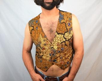 Vintage Beaded 90s Ethnic Hippie Vest - Moda Int'l