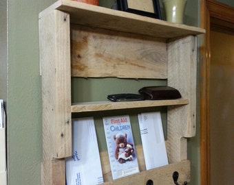 Rustic Pallet Mail Organizer with Key Hooks and Shelves