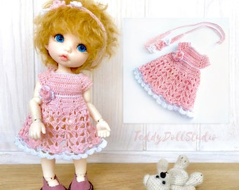Summer pink dress PukiFee Clothes BJD dolls Lacy dress Lati Yellow Outfit Irrealdoll dress Knitted lacy dress BJD dolls Aquarius pink outfit