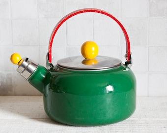 Vintage French Enamel Green Kettle || French Vintage Coffee Pot or Teapot - Retro Home Decor