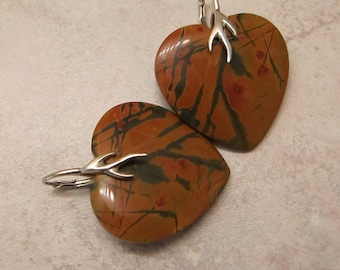 Picasso Jasper Hearts and Sterling Silver Earrings Branch Lever Backs Big Hearts - Earth Element - by Silla - BJHLB1