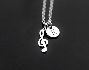 Music Gift, Music Note Necklace, Silver Music Note Charms, Musician Gifts, Music Student Gift, Music Lover Necklace, Personalized Initial