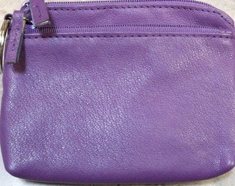 Small Purple Leather Vintage Coin Purse,  Zipper Leather Coin Purse, Vintage Leather Change Purse, Vintage Coin purse