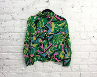 vintage 60s psychedelic mock turtleneck / trippy print long sleeve shirt / abstract geometric print top