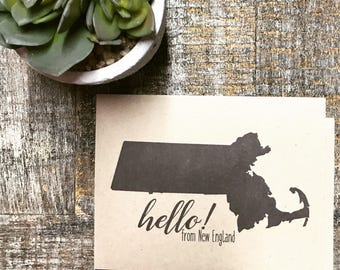 New England Greeting Card, Stationary, Massachusetts, Hello card, Destination, Boxed Card, Hello from New England