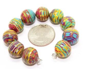 Round Mokume Polymer Clay Beads 14mm (Set of 10)