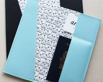 Long Cat passport holder, passport case, passport cover, vinyl passport holder with cotton liner, faux leather passport holder