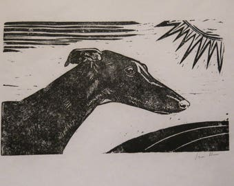 BirdsforBirds Greyhound Galgo art block print