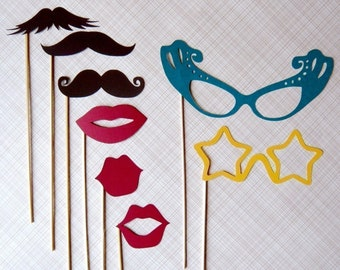 Photobooth Party on a Stick - Mustashe, Lips and Glass Set