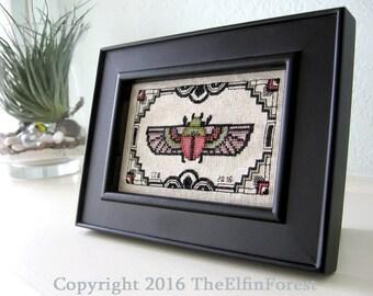 Art Deco Cross Stitch Pattern Scarab Instant Download PDF Beetle