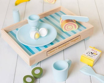 Personalised Blue Wooden Play Kitchen Breakfast Set