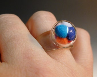 One Blown Bubble with Pom Poms Glass Ring Hand Sculpted by Jenn Goodale