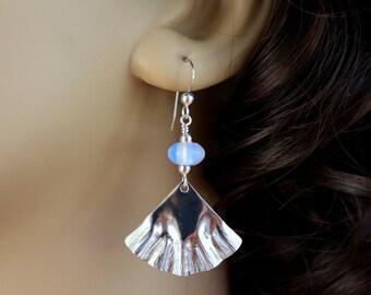 Fan Shaped Sterling Silver Earrings, Opaline Earrings, Hammered Silver Earrings, Sterling Silver Dangle Earrings, Beaded Silver Earrings