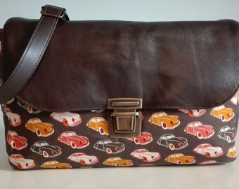Leather messenger bag, messenger bag women, vintage, cars, brown leather bag, cross body bag, leather tote bag, leather tote, retro, Mustang