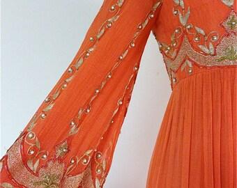 20% Off SALE Coupon Code FAVORITE20 Vintage 1970's Surjit & Adarsh Gill SAZ Beaded Silk Gown From IMagnin