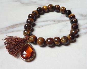 Single Wrap Bracelet Handcrafted Tiger Obsidian Beaded BrownTassel Jewelry 1085