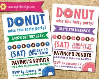 Printable Donut Invitation - bakery cake pastry creme party paper goods Invite DIY boy girl card printable birthday
