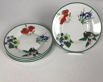 """4 National Wildlife Federation 6 1/4"""" Flowers Saucers New Iris Collectibles Plates"""