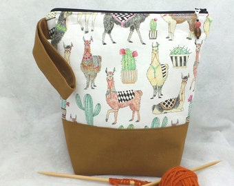 Medium Llamas Knitting Project Bag, Knitting Project Bag, Knitting Tote Bag, Crochet Project Bag