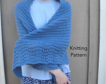 Bonnie Shawl Knitting Pattern, Easy Knit, Wrap Cape, Worsted Yarn, Worsted Yarn, Stockinette Garter, Lace Border