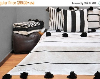 ON SALE 20% Moroccan Pom Pom Blanket Handwoven by Artisans in Morocco on Traditional Wooden Looms, from 100 Percent Cotton, #MC009