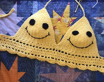 Smiley Face Crochet Top with Extra Length