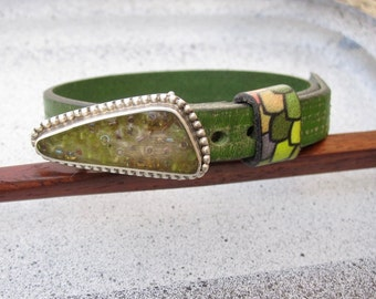 Lime green and silver Buckle and Strap adjustable leather bracelet One Of A Kind signature style