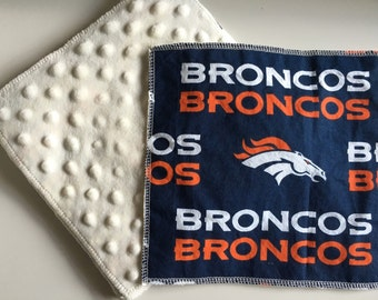 Broncos, Cloth Minky Wipes, Cloth Wipes Minky,  Baby Shower Gifts - Broncos 5 pack