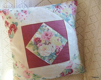 Vintage pink print patchwork Cushion cover