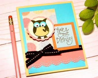 Owl Birthday Card Bday Cards Owl Greeting Cards Birthday Kids Girl Daughter Bday Teen Girl Bday Card Granddaughter Stampin Up Cards