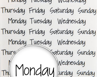 Days of the Week - Planner Stickers - Clear Stickers