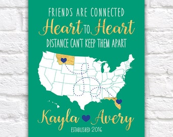 Birthday Gift for Best Friend, Sister, Cousin -  Art Print, Map with Locations - BFF's, Long Distance, Moving Away, Hometown, Bestie   WF312