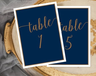 Navy & Gold - Table Numbers (Style 13804)