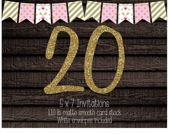20 Professionally Printed Card Stock Invitations