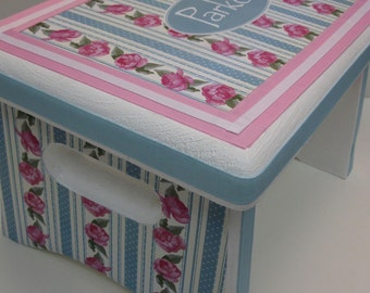Shabby Chic Personalized Sturdy Stool-Great Newborn, Baptism , 1st Birthday Gift