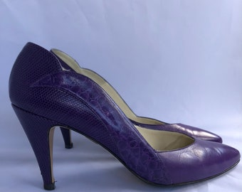 Caressa Purple Leather Pumps With Scalloped Back 8.5M