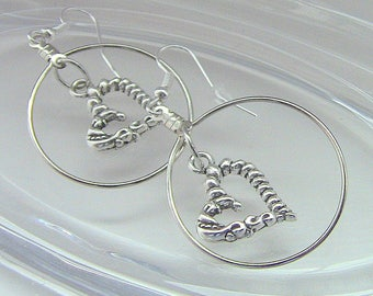 Gift For Her, Heart Earrings, Earrings, Heart Dangle Earrings, Heart Hoop Earrings, Hearts