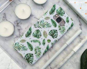 Floral Samsung Galaxy Case Galaxy Case Galaxy S8 Case Galaxy S8 Plus Case Galaxy S8+ Case Galaxy Note 8 Case Note8 Case Green Leaf Leaves