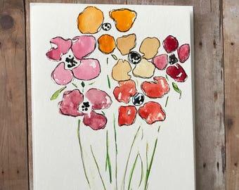 Original Watercolor Card, Hand Painted Card, Original Watercolor Cards