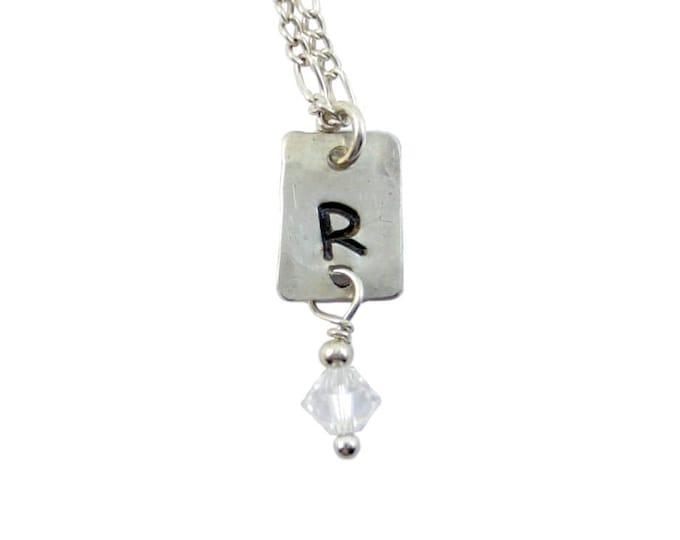 Initial Charm Necklace with Swarovski Crystal Drop