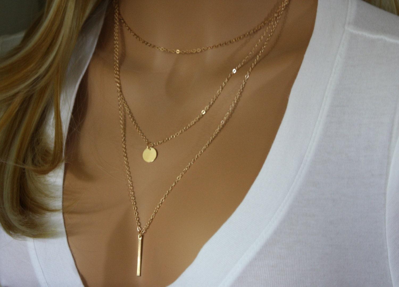 Monogram Gold Layering Necklace Skinny Bar Necklace Layered