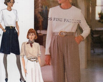 Free Us Ship Sewing Pattern Vogue 8914 Vintage  90's Soft Pleat Skirt Pants Size 6 8 10 Waist 23 24 25 1990's New Uncut