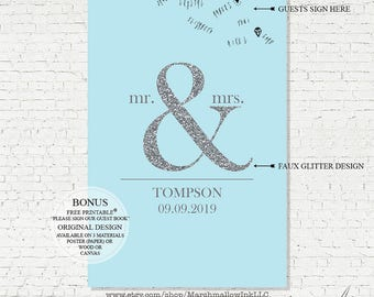 Wedding Guest Book - Wedding Gift - Wedding Guest Book Alternative - Faux Silver Sparkle Guest Book Sign, Bridal Shower Gift, Wedding Poster